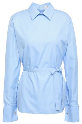 VALENTINO Belted cotton-poplin shirt