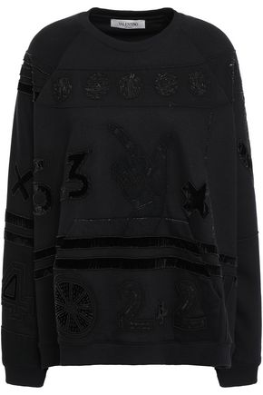 VALENTINO Aurelia embellished cotton-blend terry sweatshirt