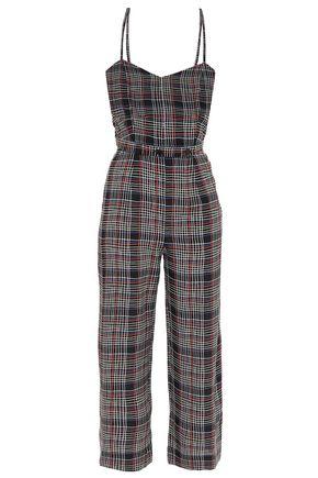 ÊTRE CÉCILE Grid Elise cropped checked silk jumpsuit