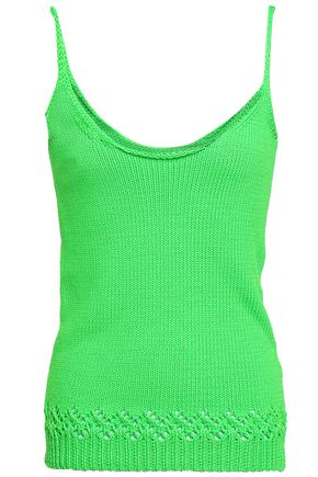 LES RÊVERIES Crochet-trimmed neon knitted tank