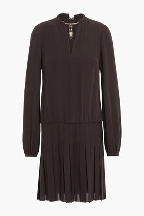 VALENTINO Cutout pleated embellished silk-crepe mini dress