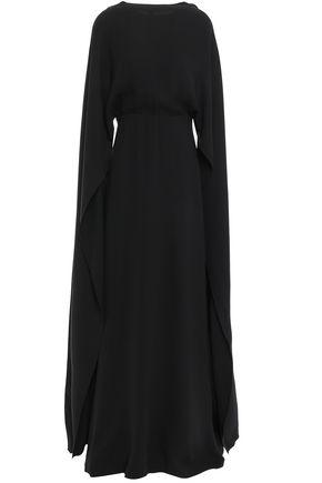 VALENTINO Open-back cape-effect draped silk-crepe gown