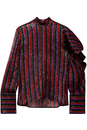 PETAR PETROV Asymmetric striped silk-blend lamé top