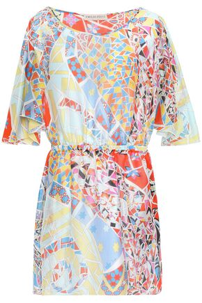 EMILIO PUCCI فستان قصير بتصميم منسدل من قماش جورجيت الحريري المطبع برسومات