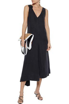 Joseph Woman Max Asymmetric Buckled Washed-silk Midi Dress Black