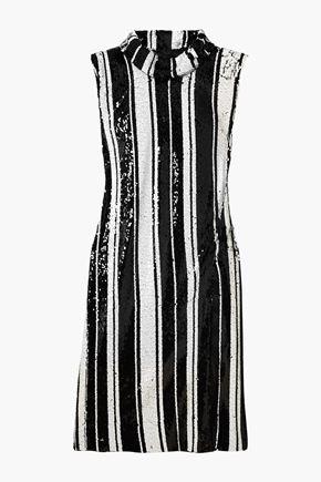 HALPERN Striped sequined silk-tulle dress