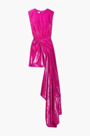 HALPERN Draped velvet and lamé mini dress
