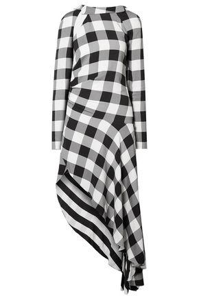 MONSE فستان متوسط الطول غير متماثل من الكريب بنقش الجبهام مع أجزاء مقصوصة
