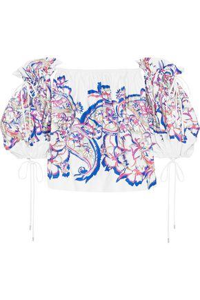 PRABAL GURUNG Off-the-shoulder printed cotton-blend top