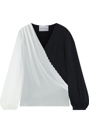 PRABAL GURUNG Button-detailed silk-georgette and crepe blouse