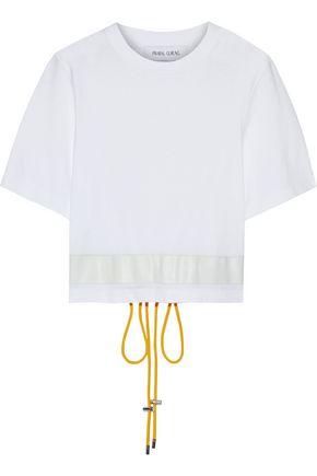 PRABAL GURUNG レザートリム コットンジャージー Tシャツ