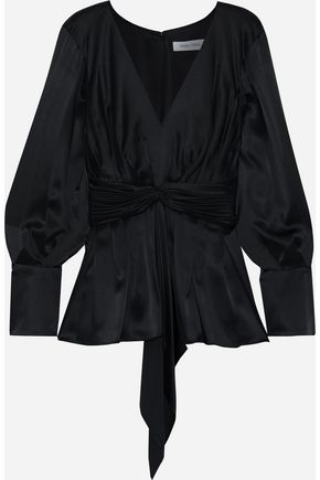 PRABAL GURUNG Knotted pleated silk-satin blouse