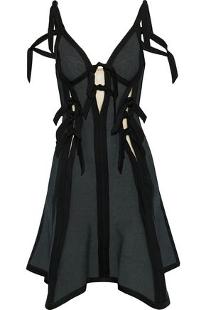 HERVÉ LÉGER Abby satin-trimmed tie-detailed jacquard mini dress