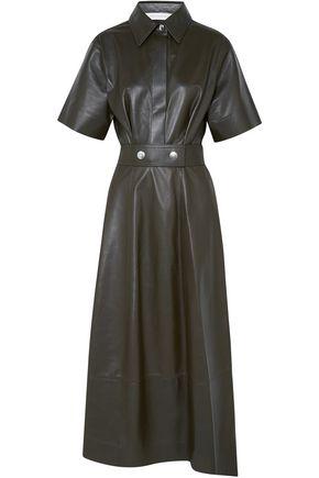 VICTORIA BECKHAM Belted leather midi dress