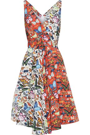 MARY KATRANTZOU Butterfly Flip wrap-effect pleated printed faille dress