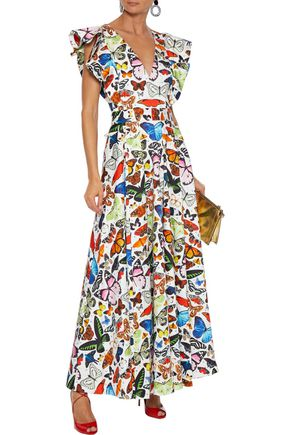 Mary Katrantzou MARY KATRANTZOU WOMAN NOOR RUFFLE-TRIMMED PRINTED STRETCH-COTTON POPLIN MAXI DRESS WHITE