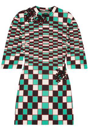 CHRISTOPHER KANE فستان قصير من قماش سكوبا المرن والمزين بنقش مربعات