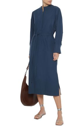 Joseph Woman Ferris Belted Layered Cotton-poplin Midi Dress Storm Blue