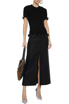 Alexander Wang Zip-embellished Ribbed Cotton Top In Black