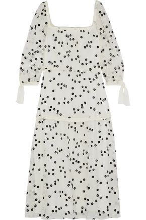 REBECCA TAYLOR Embroidered crinkled cotton and silk-blend midi dress