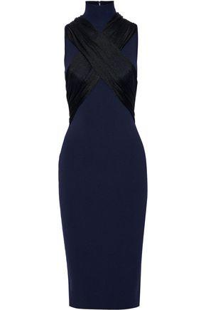 HERVÉ LÉGER فستان بياقة عالية بتصميم متقاطع من قماش بونتي مع أجزاء من التول