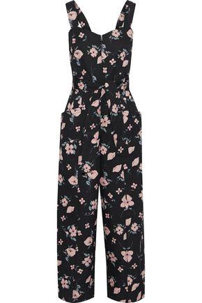 REBECCA TAYLOR Daniella cropped floral-print cotton and linen-blend jumpsuit