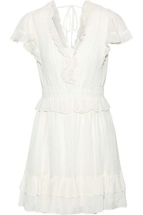 REBECCA TAYLOR Ruffled metallic cotton-blend gauze mini dress