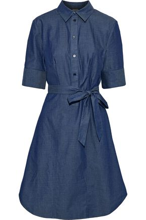 IRIS & INK Palmetto belted cotton-chambray dress