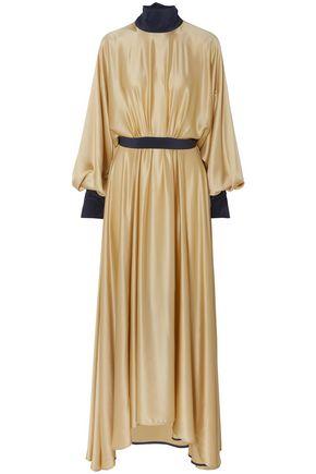 ROKSANDA فستان طويل بتصميم ملموم من الساتان الحريري بلونين