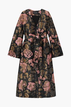 ETRO Belted metallic jacquard coat