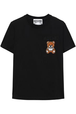 MOSCHINO Embroidered embellished cotton-jersey T-shirt