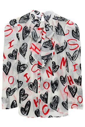 MOSCHINO Pussy-bow printed devoré-chiffon blouse