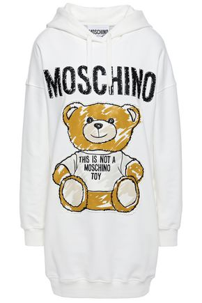 MOSCHINO Appliquéd embroidered cotton-blend jersey hooded sweatshirt