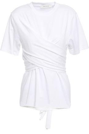 CEDRIC CHARLIER Wrap-effect gathered cotton-jersey T-shirt