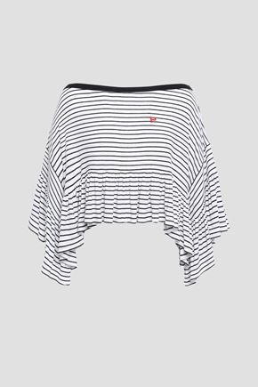 PHILOSOPHY di LORENZO SERAFINI Cropped striped ribbed modal-blend jersey top