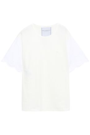 PHILOSOPHY di LORENZO SERAFINI Scalloped poplin-paneled cotton-jersey T-shirt