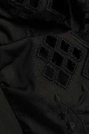 ALBERTA FERRETTI スカラップ イギリス刺繍入り コットンポプリン ミニワンピース