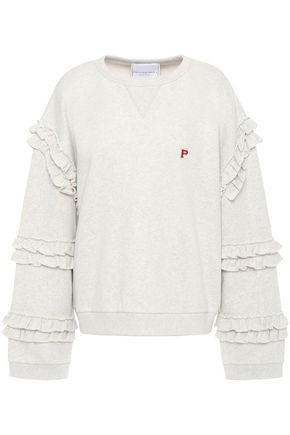 PHILOSOPHY di LORENZO SERAFINI Ruffle-trimmed French cotton-terry sweatshirt