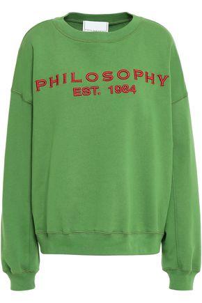 PHILOSOPHY di LORENZO SERAFINI Embroidered cotton-fleece sweatshirt