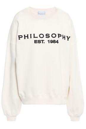 PHILOSOPHY di LORENZO SERAFINI Metallic embroidered French cotton-terry sweatshirt