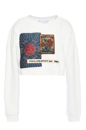 PHILOSOPHY di LORENZO SERAFINI Cropped appliquéd French cotton-terry sweatshirt
