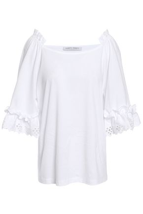 ALBERTA FERRETTI Broderie anglaise-trimmed cotton-jersey top