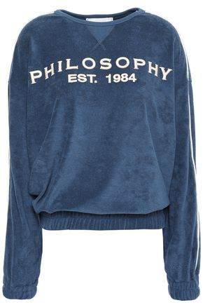 PHILOSOPHY di LORENZO SERAFINI Embroidered cotton-blend terry sweatshirt
