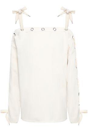 PHILOSOPHY di LORENZO SERAFINI Cold-shoulder embellished two-tone French cotton-terry sweatshirt
