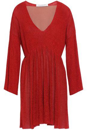 PHILOSOPHY di LORENZO SERAFINI Metallic ribbed-knit mini dress