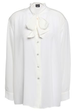 BOUTIQUE MOSCHINO Pussy-bow silk crepe de chine blouse