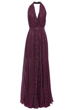 PHILOSOPHY di LORENZO SERAFINI فستان طويل بحمالة عنق مكشوف الظهر من قماش لاميه المخطط لون ميتاليك