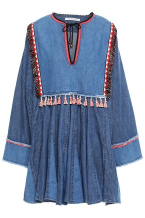 PHILOSOPHY di LORENZO SERAFINI Braid and tassel-trimmed gathered denim mini dress