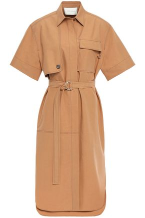 CEDRIC CHARLIER Belted cotton-poplin shirt dress