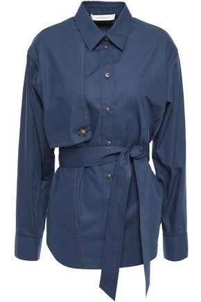 CEDRIC CHARLIER Belted cotton-poplin shirt